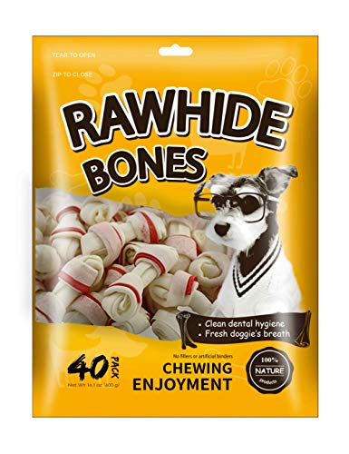 MODONE Dog Rawhide Bones,100% Nature Pressed Dog Bone Treat with Real Pork for Small Dog and Puppy(Mini ()