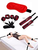 B&M's Mart Velvet Cloth Blindfold Eye Mask, Wrist and Ankle Adjustable Cuffs Soft Wrist Cuffs for Men and Women Cosplay (Red)
