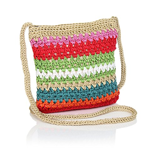 Woven Handbag Tan (Boho Crochet Crossbody Handbag, Striped Sling Bag, Small Crocheted Hippie Purse (Multi Colored Tan))