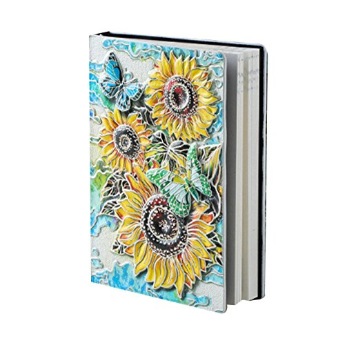 Felice Embossed Sunflower Leather Journal Notebook A5 Retro Travel Journal to Write in (multicolored)