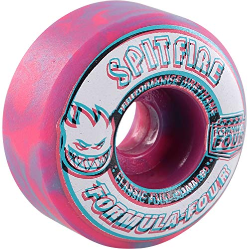 Spitfire F4 Overlay Classic Full Wheels Set Pink Blue Swirl 53mm/99d (53mm Wheels Spitfire)