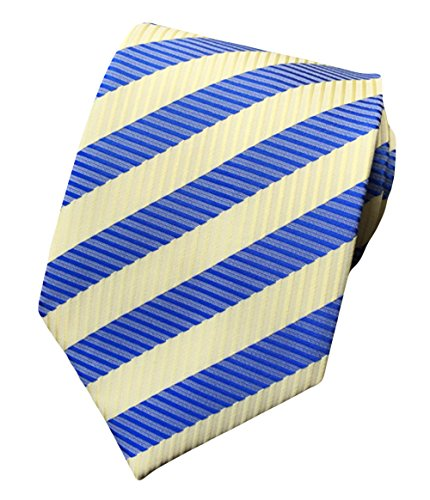 (MENDENG Striped Blue Yellow Jacquard Woven 100% Silk Men's Tie)