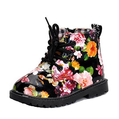 MK MATT KEELY Girls Martin Boots Flower Print Black Fashion Leather Shoes High Top (Toddler/Little - Boots Kids Mk For
