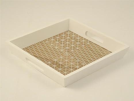 Vassoi In Legno Fai Da Te : Vassoio quadrato in legno bianco e naturale 25x25x4cm: amazon.it