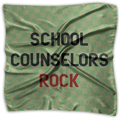 School Counselors Rock Fashion Women's Print Square Kerchief Scarf Head Wrap Neck Satin Shawl