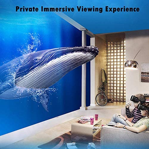 Immersive 3D VR Glasses Box Virtual Reality Headset Pro Version with Earphone Compatible for iPhone 11 Pro Samsung LG Moto HTC etc. 4.0-6.0inch Cellphone with Gift Wireless Remote Controller, Black 51QdVbbIx4L