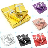 H&S?? 12 x Luxury Jewellery Presentation Gift Boxes Packaging Packing Case (Gold, 8 x 5 x 2.5cm) by HS Alliance