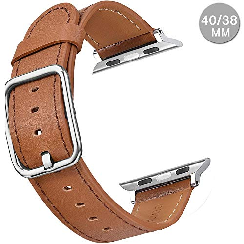 (Compatible with Apple Watch Sports Band Series 4 (44mm, 40mm) Series 3 Series 2 Series 1 (42mm, 38mm) | Premium Genuine Leather Replacement Strap for iWatch (Brown, 40mm/38mm))