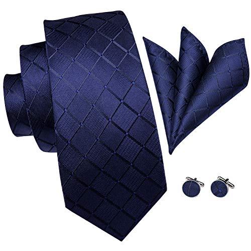 Hi-Tie Men's Navy Blue Tie Woven Silk Plaid Check Necktie Pocket Square and Cufflinks Tie Set