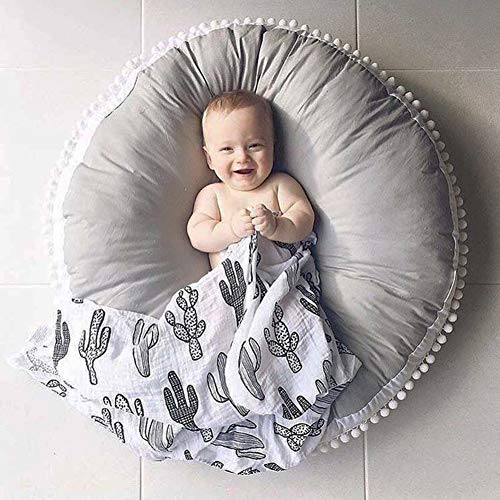 Kids Floor Pillow Seating Cushion Round Floor Cushion Large Tatami Floor Pad for Bedroom, Reading Nook, Watching TV, Living Room, Grey Thick 35.5 Inches-Diameter Cotton