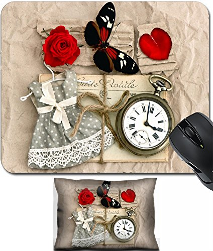 MSD Mouse Wrist Rest and Small Mousepad Set, 2pc Wrist Support Design 27133966 Old Love Post Cards and Vintage Clock red Rose Flower Valentine Heart Butterfly Nostalgic ()