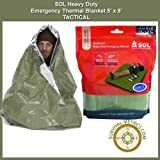 SOL Heavy Duty Emergency Blanket - Thermal, Tactical Olive Drab / Heat Reflective