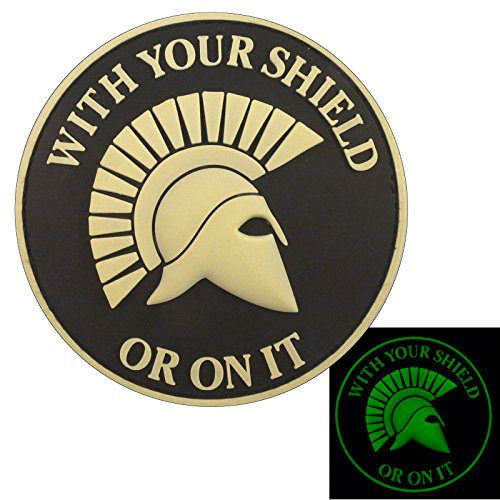 Glow Dark Spartan Helmet WITH YOUR SHIELD OR ON IT PVC 3D Rubber Touch Fastener Patch