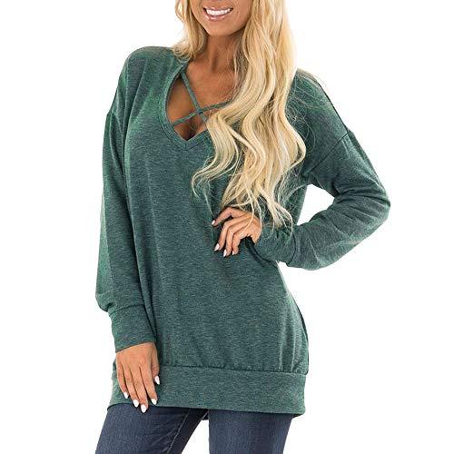 Jacket Silver Ride 2 (kaiofngfu V-Neck Long Sleeve Womens Shirt Cross Sweatshirt Pullover Tops(Green,L))
