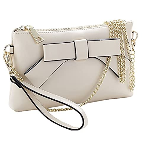 Sweetmeet Women's Wristlet Clutch Leather Purse Wallet Shoulder Bag Iphone 6 Plus Coin Keys Party White