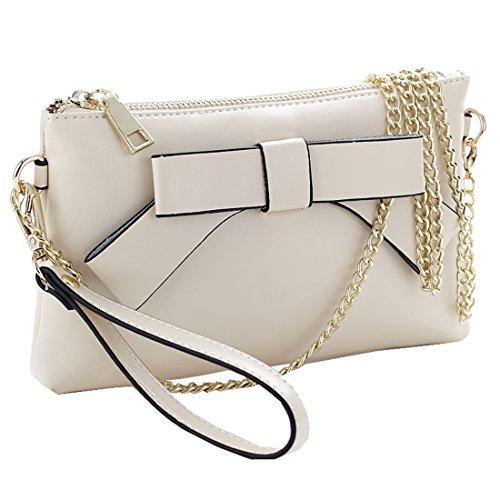Sweetmeet Women's Wristlet Clutch Leather Purse Wallet Shoulder Bag Iphone 6 Plus (Cream Handbag Purse)