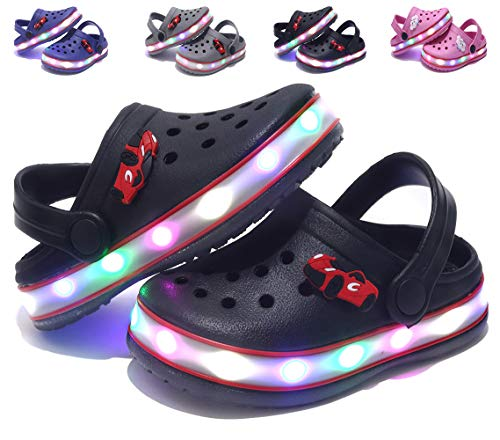 VIYEAR Cute LED Clogs Flash Lighted Sandals Shoes Summer Beach Shoes Breathable Slip-on Slippers for Children Girls Boys Black 32]()