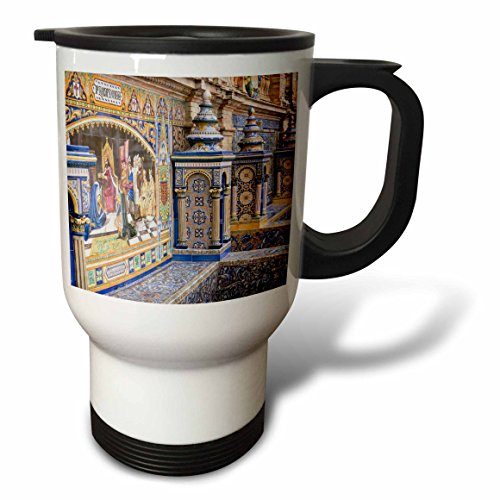 3dRose Danita Delimont - Spain - Spain, Andalusia, Seville. Traditionally decorated Plaza de Espana - 14oz Stainless Steel Travel Mug (tm_277896_1) by 3dRose