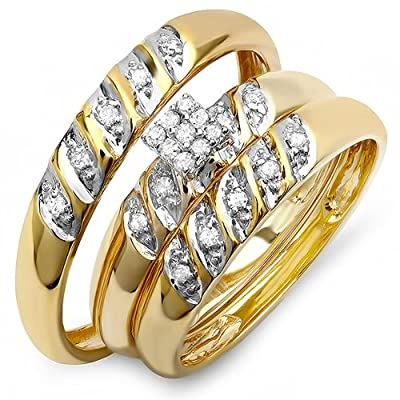 0.20 Carat (ctw) 10k Yellow Gold Round Diamond Mens His Hers Bridal Engagement Ring Trio Set 1/5 CT