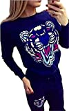 Liseaforu-Women-Tiger-Print-Two-Pieces-Fashion-Sweater-Suit-Tracksuit
