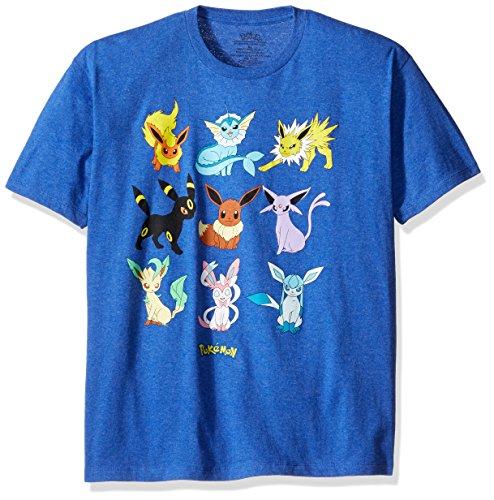 Pokemon Men's Eevee Evolution Short Sleeve T-Shirt, Royal Heather, X-Large (Pokemon Card Mienfoo)