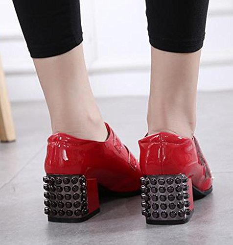 Loop Aisun Red Dressy Hook Toe And Stylish Pointed Medium Womens Heels Shoes Pumps Studded Block qSqZR8n