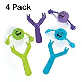 Silly Flying Slingshot Shooters – Pack Of 4 - Party Favors- For Kids And Adults- Great Party Favors, Bag Stuffers, Fun, Gift, Prize– Kids toys, etc.- By Kidsco