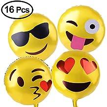 KUUQA Reusable Emoji Mylar Party Balloons Emoji Balloons Emoji Party Supplies, 16 Piece
