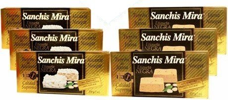 Sanchis Mira Turron Combo Pack 3 Jijona & 3 Alicante. Pack of 6 by Sanchis Mira