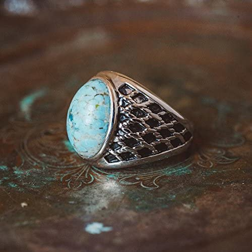 Providence Vintage Jewelry Mens 1980s Turquoise Bead Ring Antiqued 18k White Gold Electroplated
