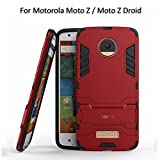 Heartly Motorola Moto Z / Moto Z Droid Back Cover Graphic Kickstand Hard Dual Rugged Armor Hybrid Bumper Case - Hot Red