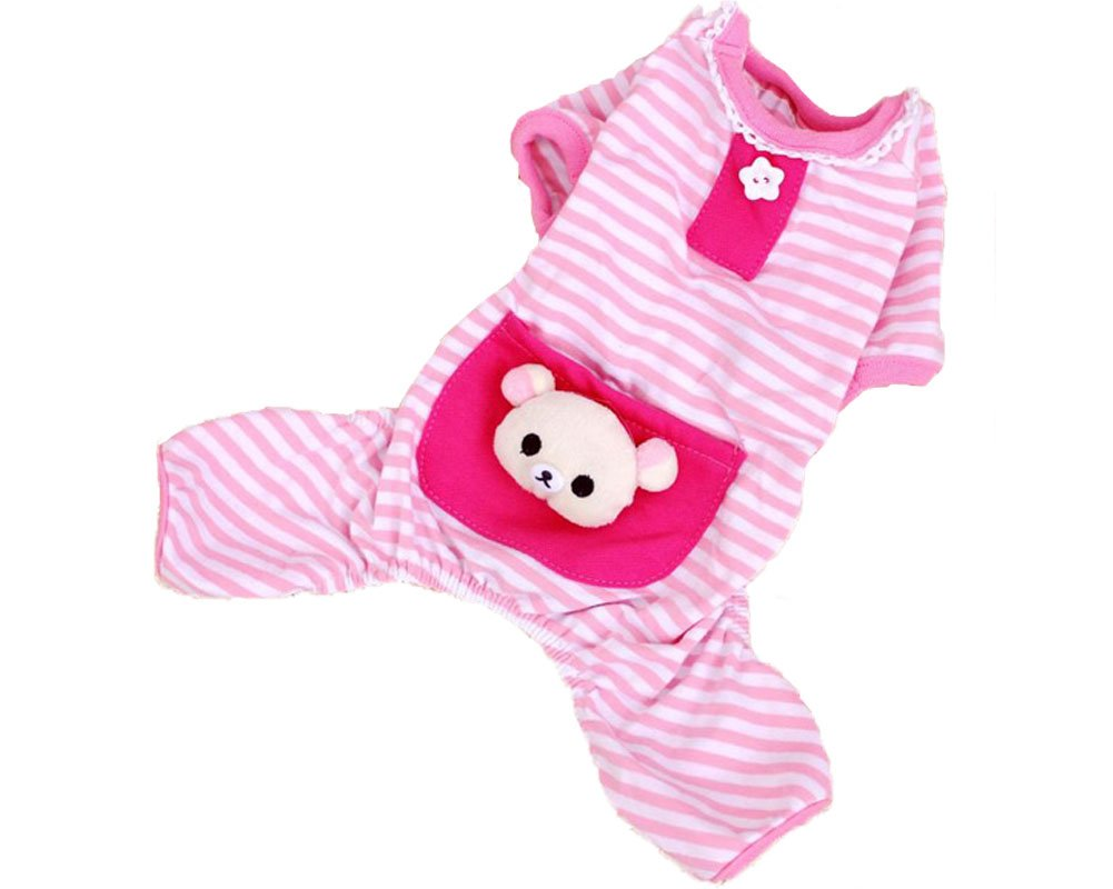 S-Lifeeling Puppy Clothes Dog Coat Jumpsuit Comfy Dog Pajamas Dog Shirt Stripes Pet Dog Clothes