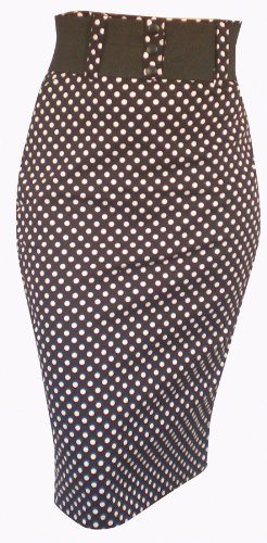 Switchblade Stiletto Black & White Polka-Dots WAIST BELT SKIRT- Large