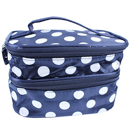 EYX Formula Korean version large Dot Double layer makeup bag for arranging and storing ,Toiletry Travel Cosmetic Makeup Beauty Bag with mirror for girls (Black white dot Bag)