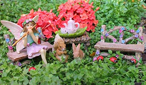 Pretmanns Fairy Garden Fairy Accessories – Miniature Fairy Figurine & Furniture – 14 Piece Starter Kit by Pretmanns (Image #1)