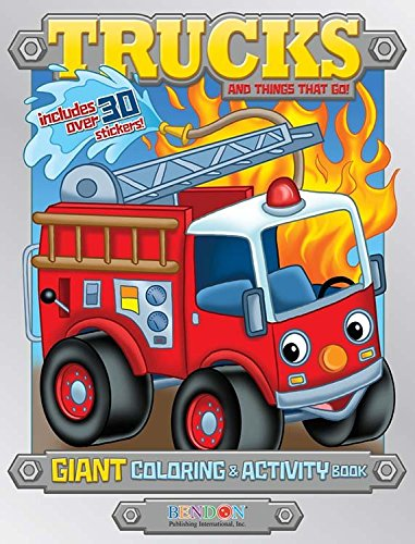 Bendon Trucks & Things That Go 224 Page Giant Coloring & Activity Book Including 30 Stickers