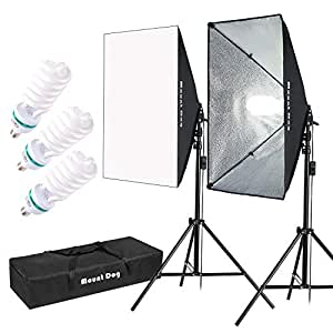 """MOUNTDOG 1350W Photography Softbox Lighting Kit 20""""X28"""" Professional Continuous Light System with 3pcs E27 Video Bulbs 6500K Photo Studio Equipment for Filming Model Portraits Advertising Shooting"""