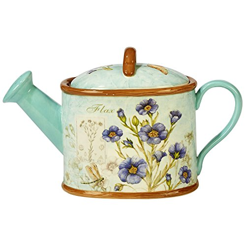 Certified International 23642 32 oz Herb Blossoms 3D Watering Can Teapot One Size ()