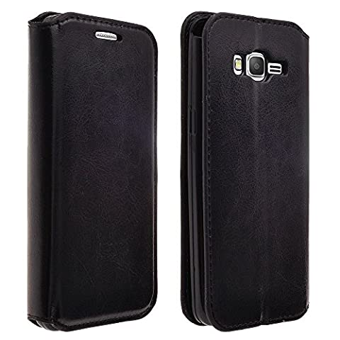 Samsung Galaxy Luna, J1 2016 Case, Galaxy Express 3 Case, Amp 2 Case - Wydan Leather Wallet Style Case Folio Flip Foldable Stand 2 Card Slot Credit Card Book Style Billfold Pocketbook Cover - (Galaxy 3 Phone Flip Cases)