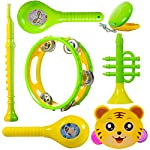 wishkey colourful plastic bpa free non toxic set of 7 musical instruments rattle for new borns,maraca,blowing trumpets…