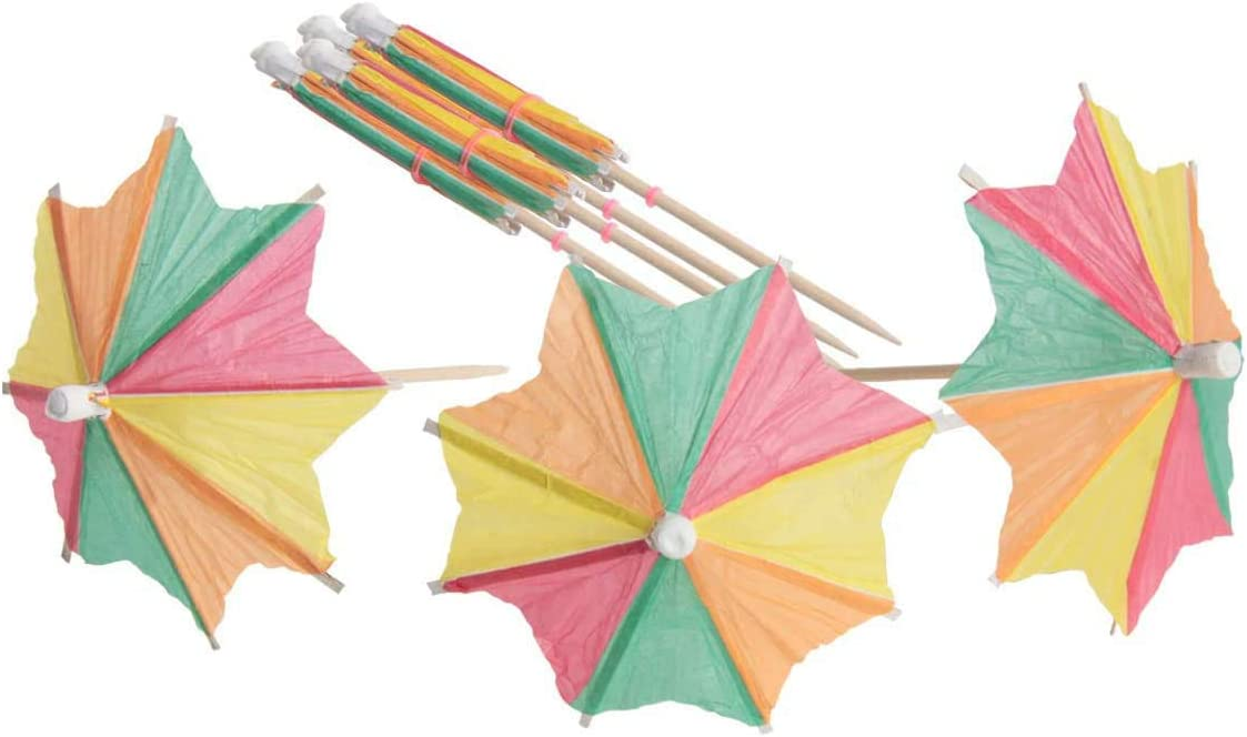 Hapy Shop 80 Pcs Colorful Paper Umbrella Cocktails,Drink Parasol Picks Cupcake Toppers for Hawaiian Party and Pool Party Supplies