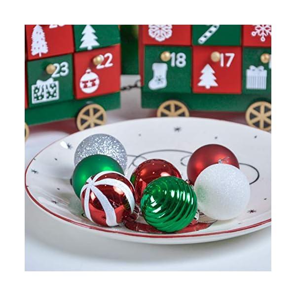 Valery Madelyn Palle di Natale 40 Pezzi 4 cm Palline di Natale, Collezione Classica Essenziale Rosso Verde e Bianco Ornamenti di Palla di Natale Infrangibili di Base per la Decorazione 7 spesavip
