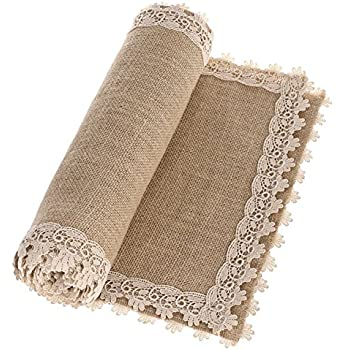 Ling's moment 12x48 Inch Burlap Cream Lace Hessian Table Runners Jute Rustic Fall Thanksgiving Christmas Decor Country Wedding Party Decoration Farmhouse Decor (Various Size Available )