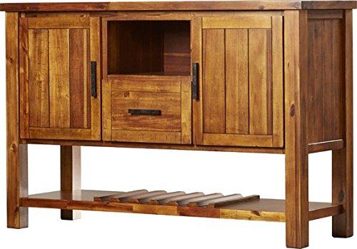 Sideboard Buffet Server, Adjustable Shelf and Wine Bottle Rack, One Drawer, Storage Cubby, Light Brown Finish, Contemporary Kitchen Living Room Furniture (126 Bottle Wine Rack)