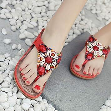 Chaussures de plage femmes pantoufles plage 2018 été nouveau port plat anti-dérapant clip pieds bohème mot sandales GV1ihbEVT