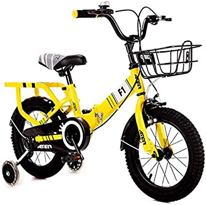 BXZ Bicicleta Niños S Bicicleta 3-4-5-6-7-8 años Niño Niña 14/16/18 pulgadas Pedal Bicicleta Bicicleta plegable,Amarillo: Amazon.es: Bricolaje y herramientas
