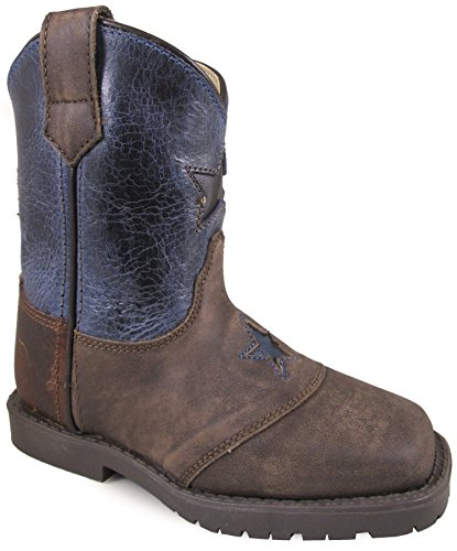 Distress Leather Western Boot (Smoky Mountain Toddlers' Autry Square Toe Two-Tone Brown Oil Distress/Turquoise Boots 9M)