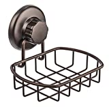 HASKO accessories - Super Powerful Vacuum Suction Cup Soap Dish - Strong Stainless Steel Sponge Holder for Bathroom & Kitchen (Bronze)