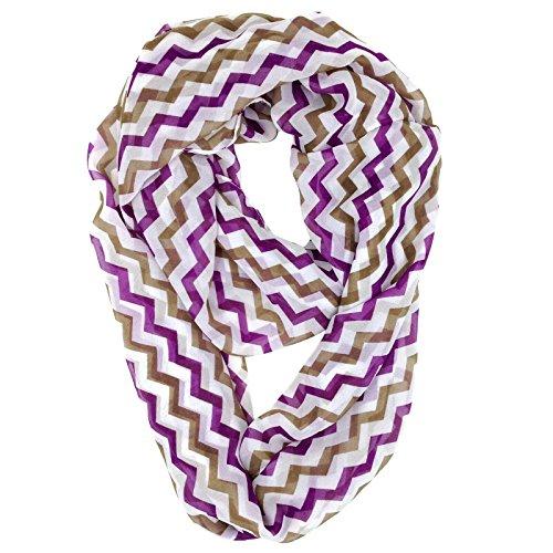 White Check Scarf - Tapp C. Vertical Chevron Sheer Infinity Scarf - Purple/Tan/White
