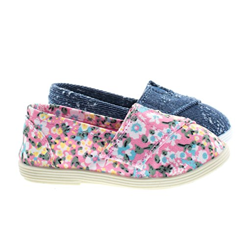 Price comparison product image ObertIIsq PinkFlw Toddler Baby Girl's Round Toe Casual Flats in Floral & Denim -8